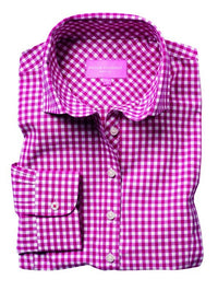 Ladies Long Sleeve Gingham Blouse (B2321)
