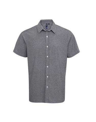 Men's Gingham Check Short Sleeve Shirt (S223) - Black/White