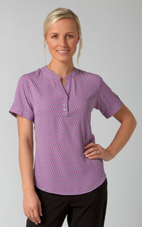 Beth Ladies Short Sleeve Print Blouse (B213)