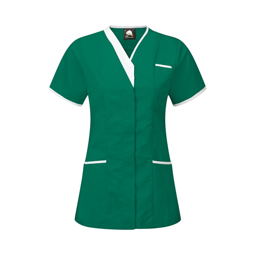 V-Neck HealthcareTunic (TU501 (PR605)) - Bottle Green/White