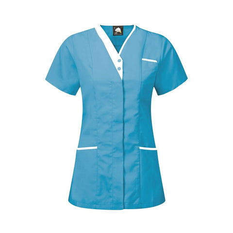 V-Neck HealthcareTunic (TU501 (PR605)) - Teal/White