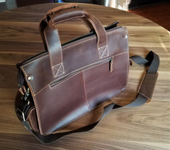 Leather Accessory Store Genuine Leather Laptop Bag Back
