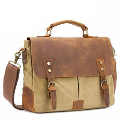 Leather Accessory Store Canvas and Leather Laptop Bag