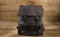 Leather Accessory Store Vintage Leather and Canvas Backpack