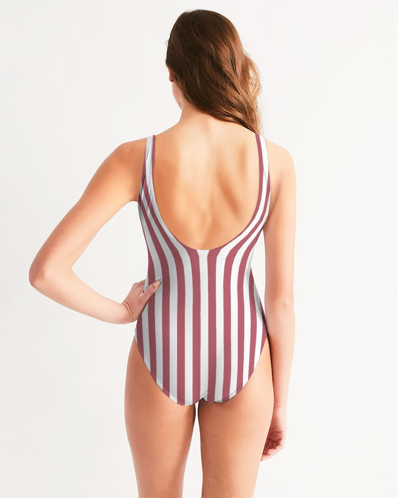Flowers And Stripes Women's One-Piece Swimsuit