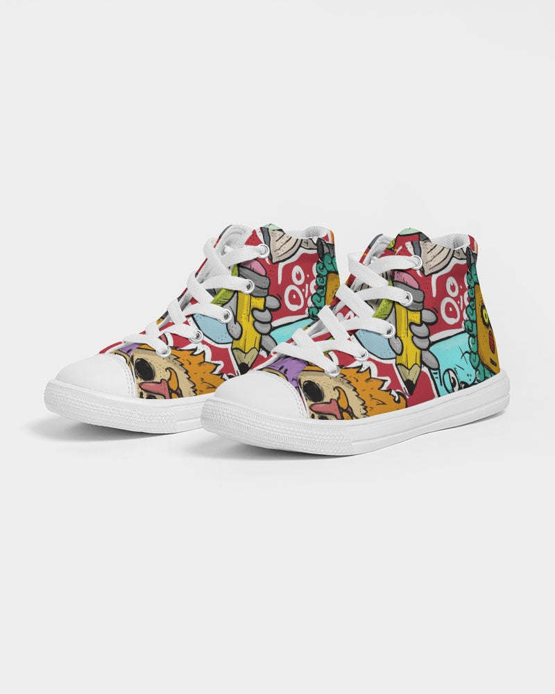 Look At My Face Kids Hightop Canvas Shoe
