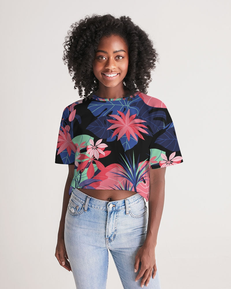Night Forest  Women's Lounge Cropped Tee