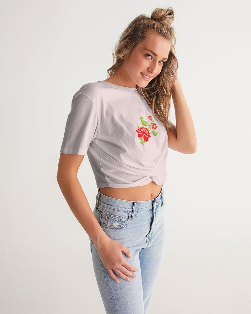 Blooming Women's Twist-Front Cropped Tee
