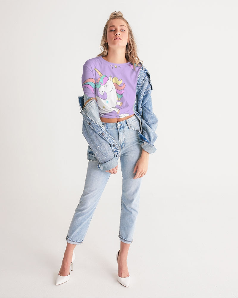 Unicorn Women's Twist-Front Cropped Tee