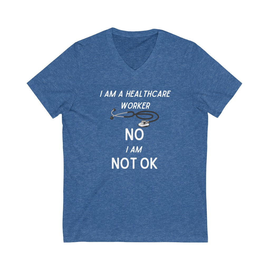 Healthcare Life Feels Unisex Jersey Short Sleeve V-Neck Tee