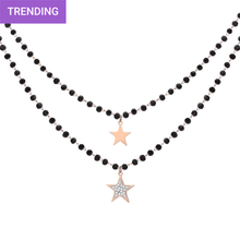 Load image into Gallery viewer, Black-beaded Star Necklace