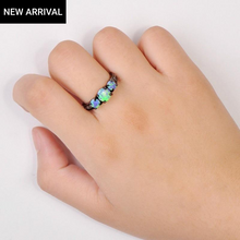 Load image into Gallery viewer, Unisex Black Opal Ring