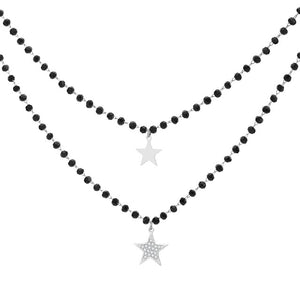 Black-beaded Star Necklace