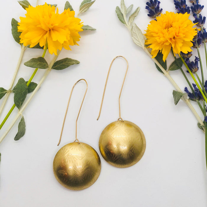 Domed Starburst Brass Earrings