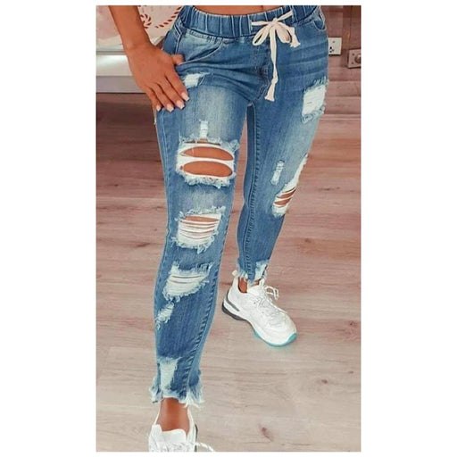 Blog Worthy Distressed Denim Joggers