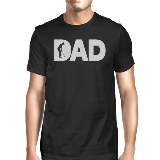 Dad Golf Mens Black Round Neck Tee Funny Gifts For