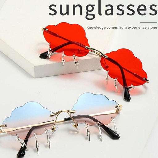 Fashion Lightning Cloud Frameless Sunglasses Women Retro Sunglasses