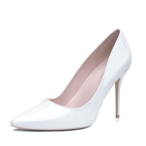 White High Heels Stiletto Pumps Bridal Wedding Shoes Simple Classic