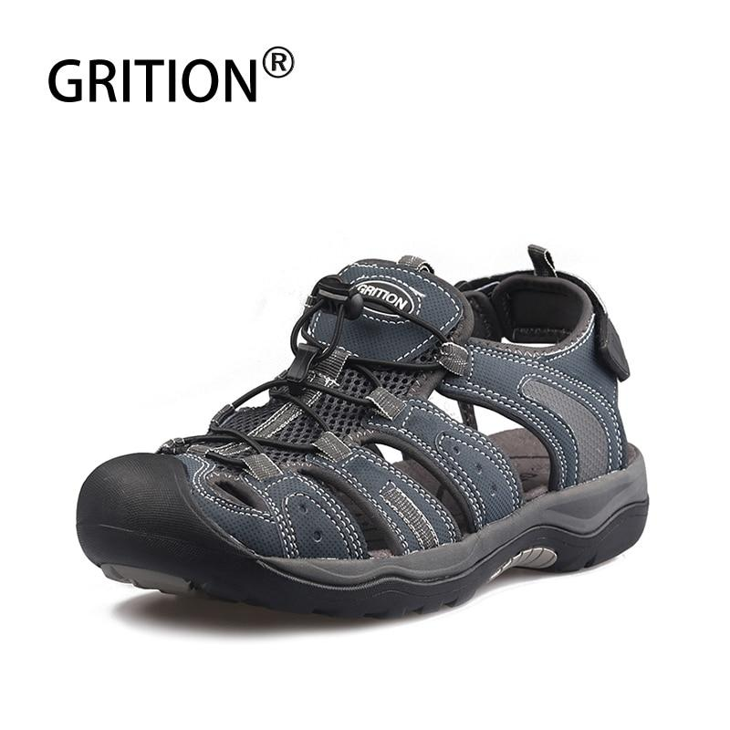 Men Sandals Nubuck Leather Outdoor Casual Sport Hiking Beach Shoes