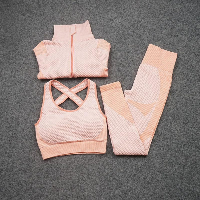 Women Yoga 2/3PCS Seamless Zipper Yoga Suit GYM Workout Sportswear