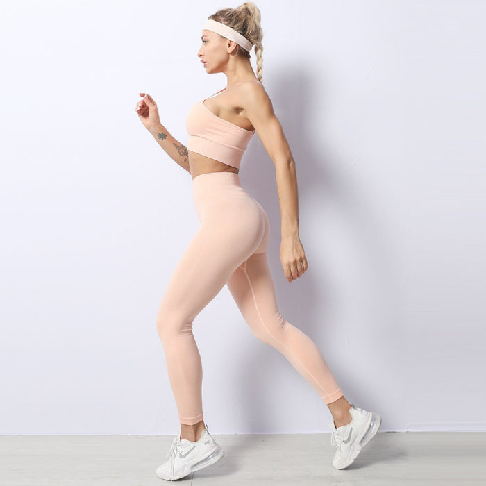 Women Yoga 2 PCS Seamless Yoga Suit GYM Workout Sportswear Asymmetric