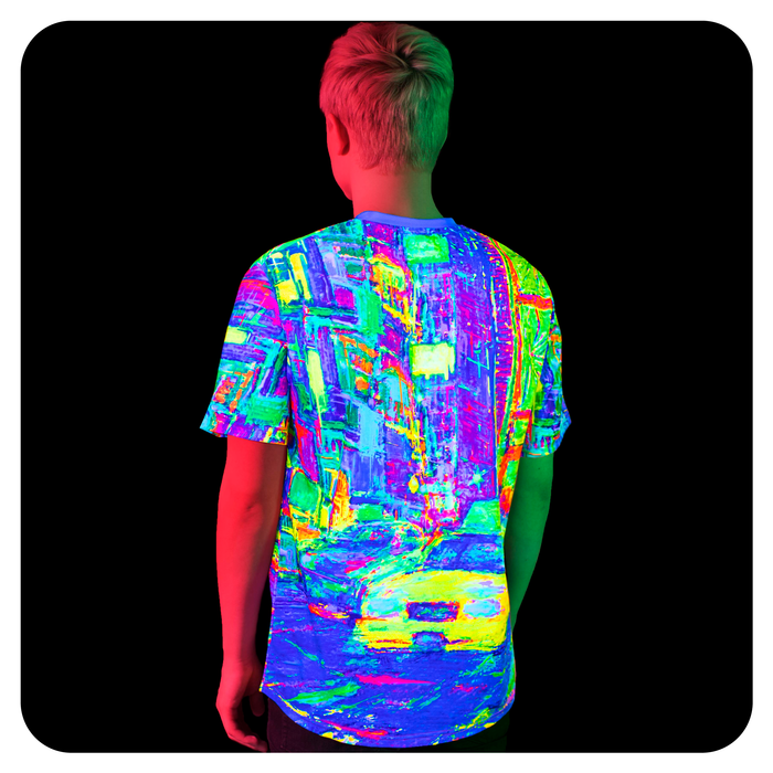 Blacklight Rave Tshirt Yellow Cab Glow in UV Fluorescent