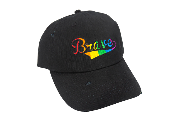 "Rainbow Pride ""Brave"" Embroidered Cap (Black)"