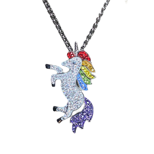 Rainbow Unicorn Gem Stainless Steel Pendant