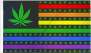 USA Marijuana Rainbow Pride Flag 3' x 5'