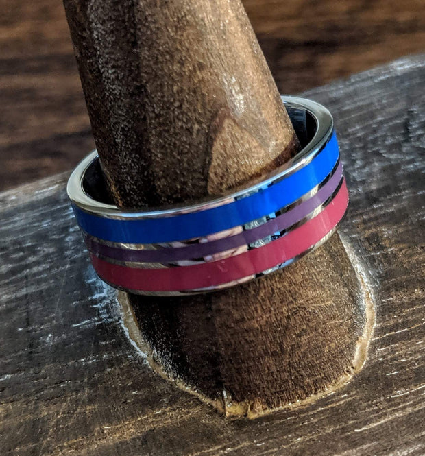 Bisexual Pride Stainless Steel Ring