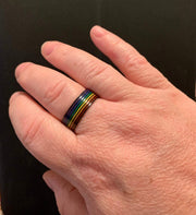 Black Stainless Steel Rainbow Pride Ring