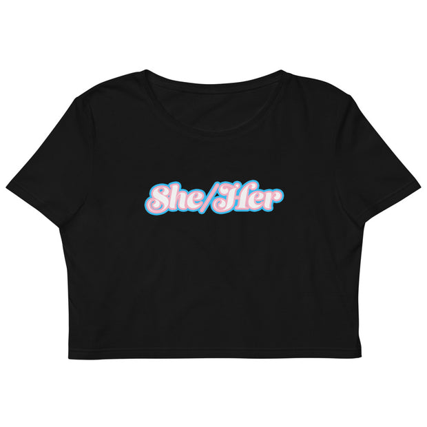 She/Her Trans Pride Organic Crop Top