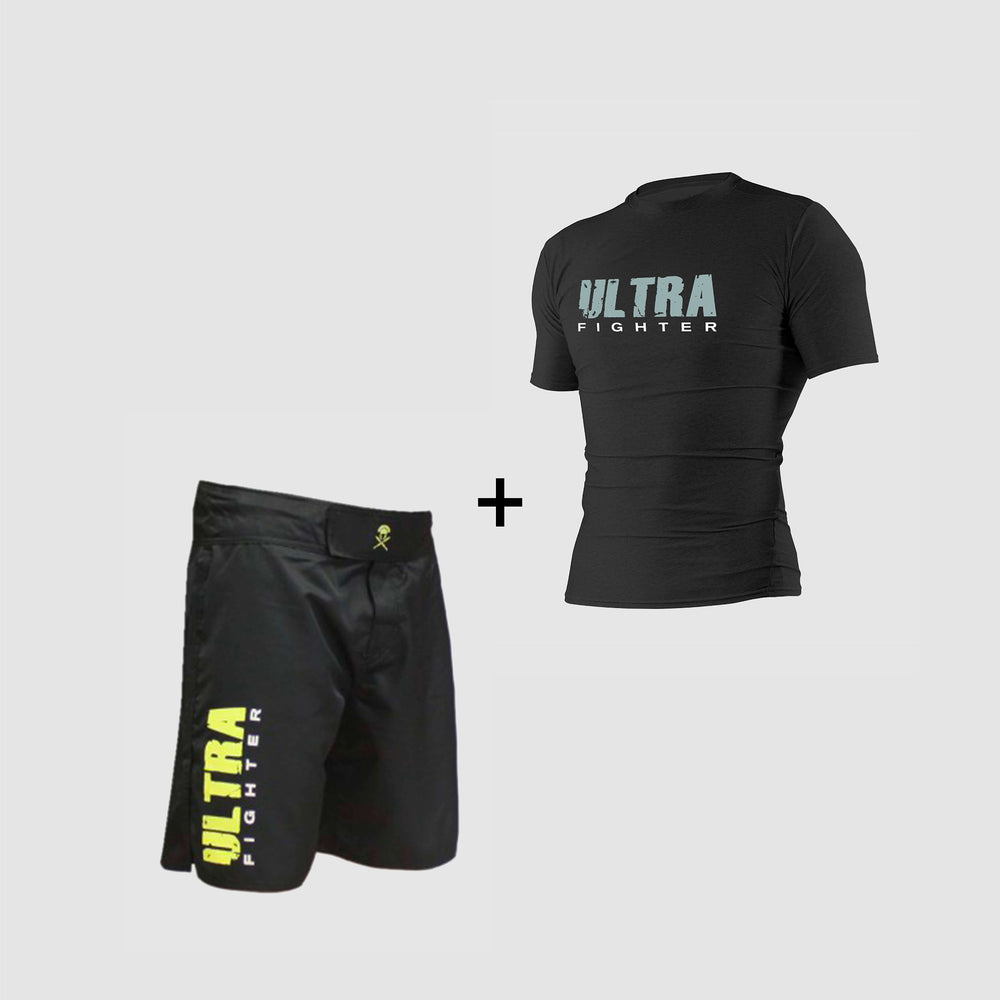 Pack équipements fightshort yellow rahsguard grey boxe kickboxing mma