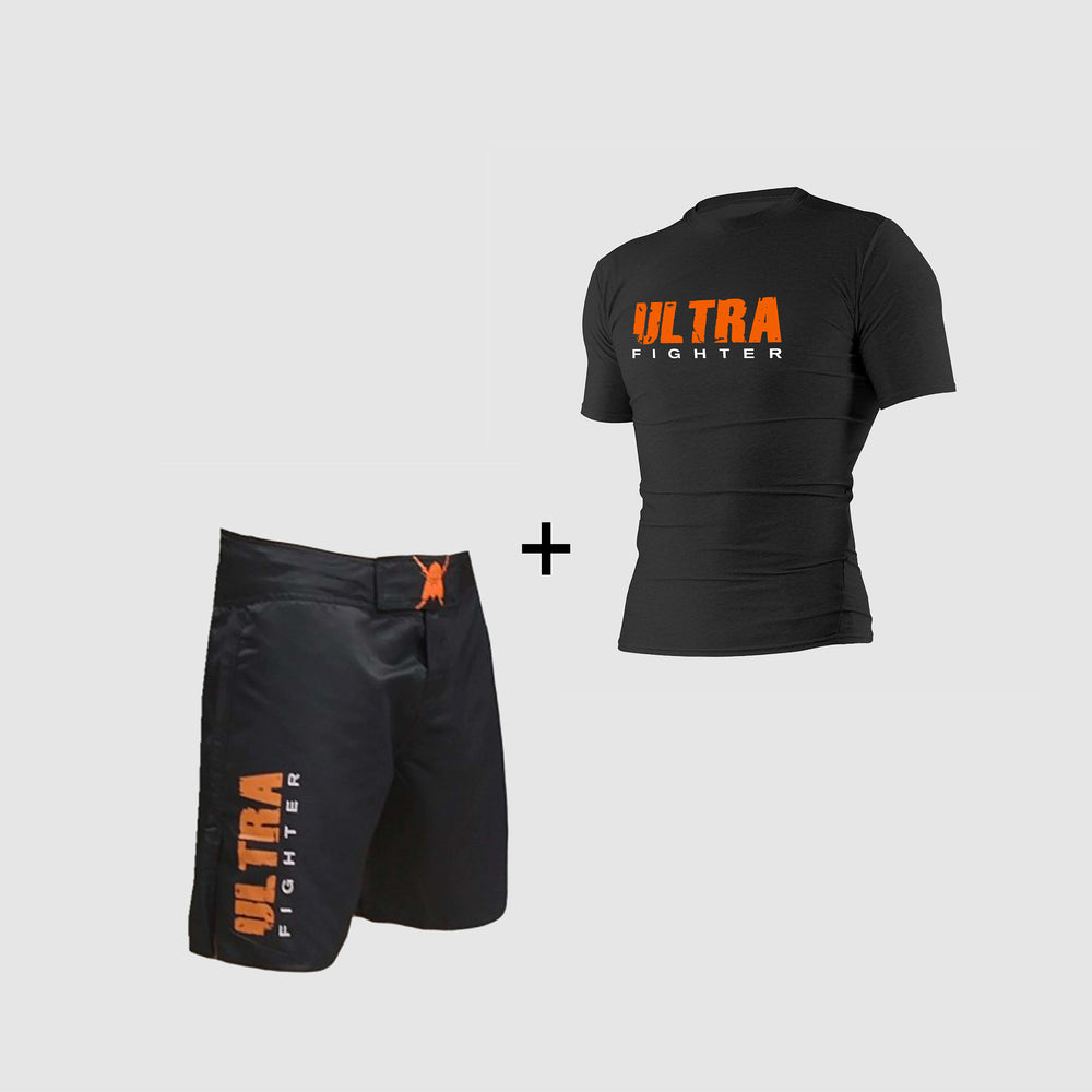 Pack équipements fightshort ultra orange rahsguard ultra orange boxe kickboxing mma