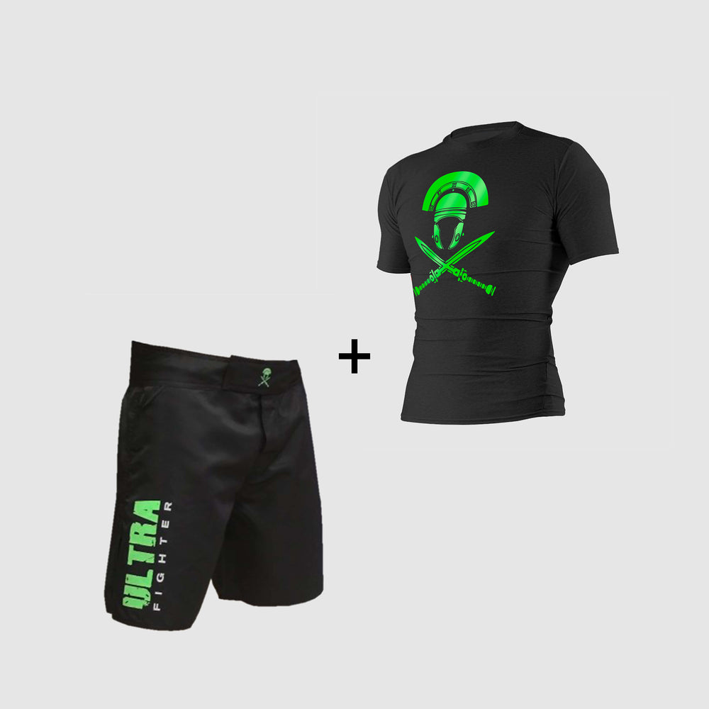 Pack équipements fightshort ultra sparte rahsguard ultra sparte boxe kickboxing mma