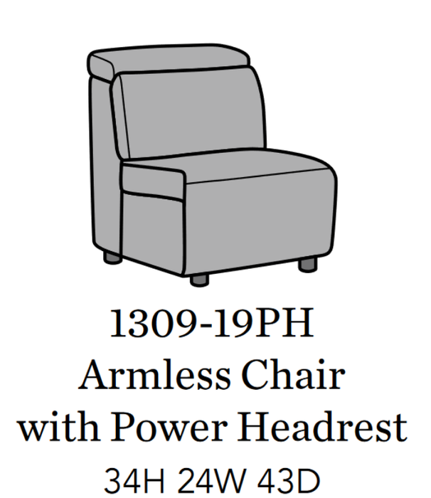 Flexsteel Latitudes Astra Leather Armless Chair w/Power Headrest 1309-19PH/326-11 image