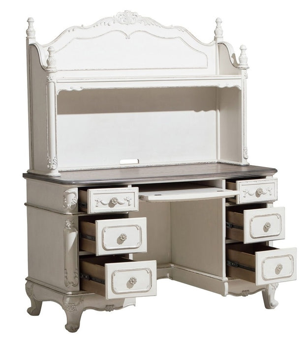 Homelegance Cinderella Writing Desk and Hutch in Antique White with Grey Rub-Through image