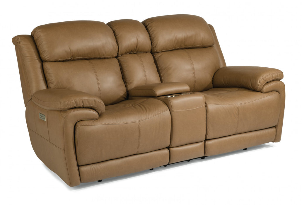 Flexsteel Latitudes Elijah Leather Power Reclining Loveseat w/Console & Power Headrests 1465-64PH/326-70 image