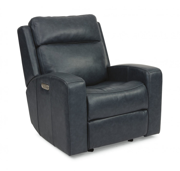 Flexsteel Latitudes Cody Leather Power Gliding Recliner w/Power Headrest in BLue 1820-54PH/297-40 image