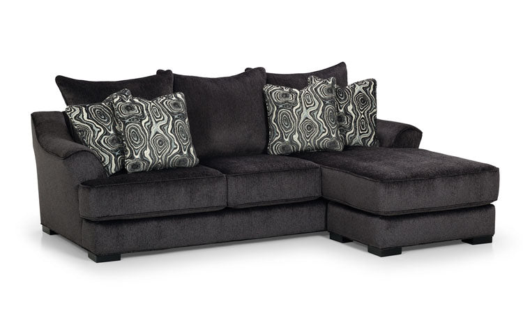474-33 Lux Midnight - Angora Smoke - Angora Smoke Sofa Chaise