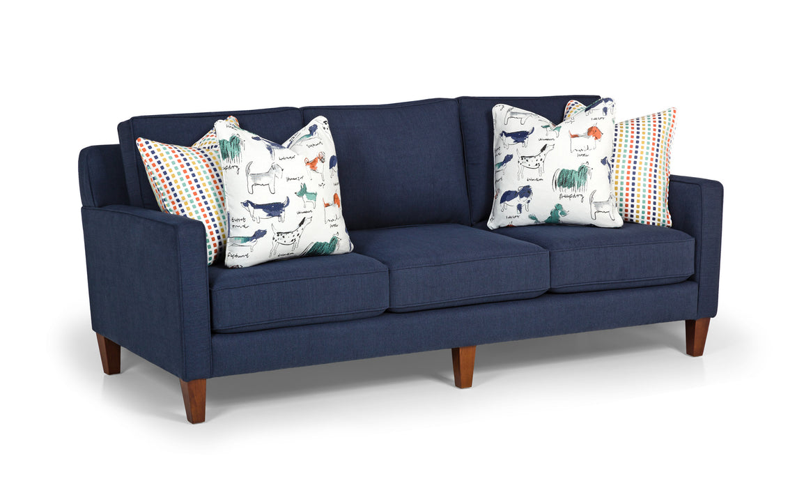 477-01 Peyton Navy - Puppy Parade Mint - Nitty Gritty Mint Sofa