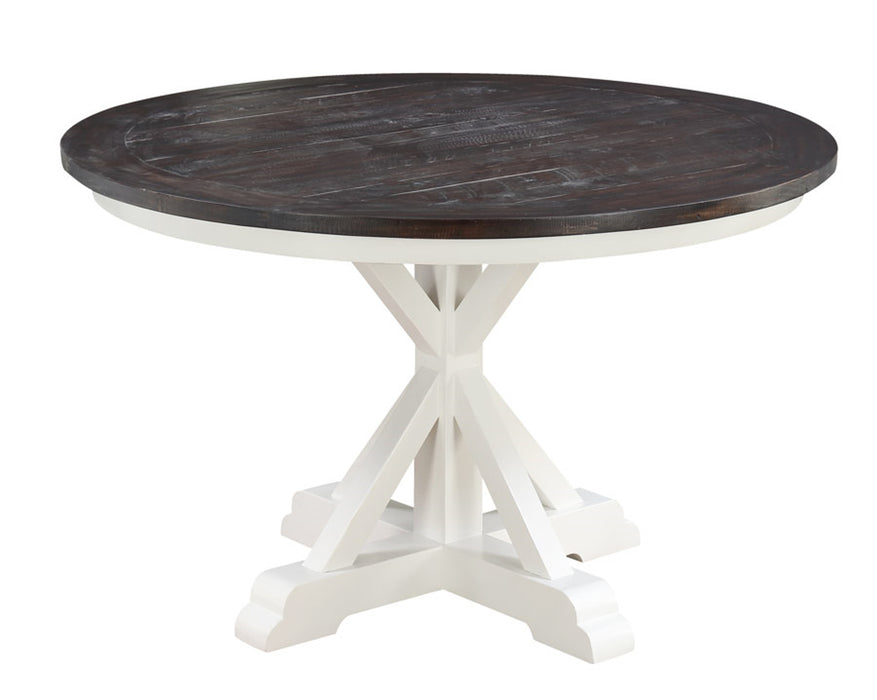 Emerald Home Mountain Retreat Round Dining Table in Antique White/Brown D601-14