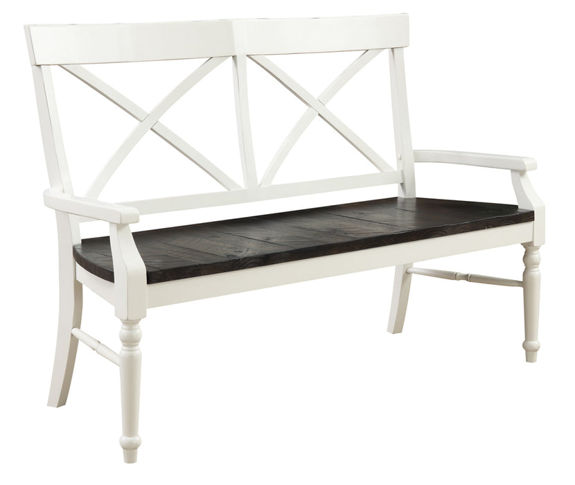 Emerald Home Mountain Retreat Bench in Antique White/Brown D601-36
