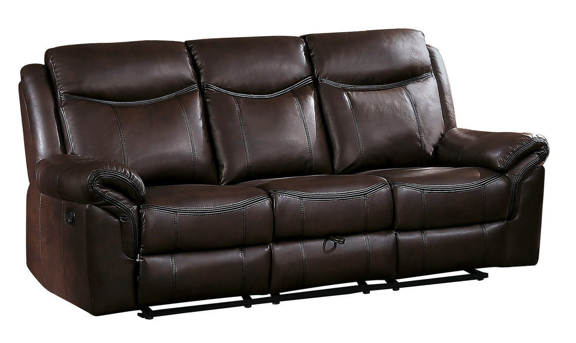 Homelegance Furniture Aram Double Glider Reclining Sofa in Brown 8206BRW-3 image