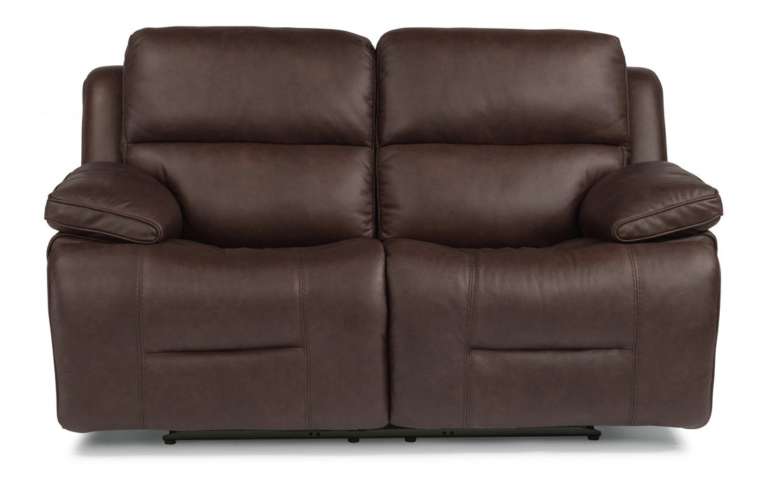 Flexsteel Latitudes Apollo Leather Power Reclining Loveseat w/Power Headrests in Brown 1849-60PH/986-70 image