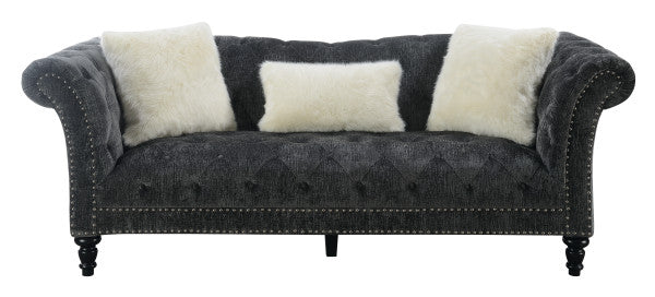 Emerald Home Hutton II Sofa w/ 2 Pillows & 1 Kidney Pillow in Bliss Charcoal U3164-00-53