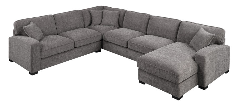 Emerald Home Furnishings Repose 3pc Sectional Sofa w/4 Pillows in Charcoal U4174-11-31-12-03-K