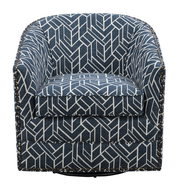 Emerald Home Furnishings Trilogy Swivel Chair in Navy U4198-04-04