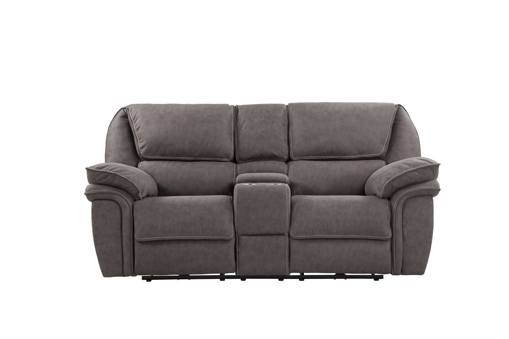 Emerald Home Allyn Power Console Loveseat in Gray U7127-21-03