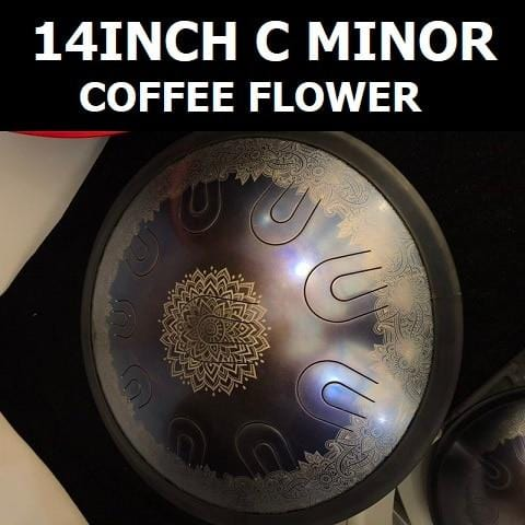 14inch video performance art empty Steel Tongue Drum colorful flower pattern Mini steel Drum coffee color HandPan Hank Drum bag